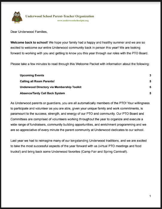 Underwood PTO Welcome Packet
