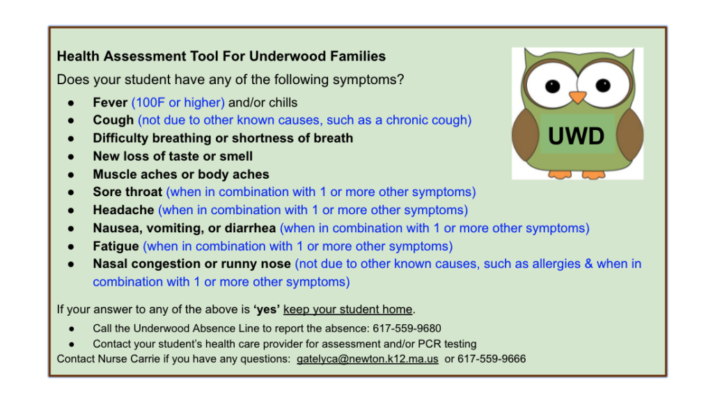 Health Assessment Tool for Underwood Families '21-22